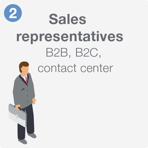 Sales representatives including B2B, B2C, and contact center.