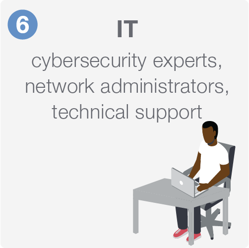 IT including cybersecurity experts, network administrators, and technical support.